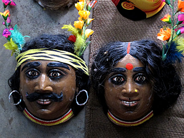 Chho masks of Santal couple